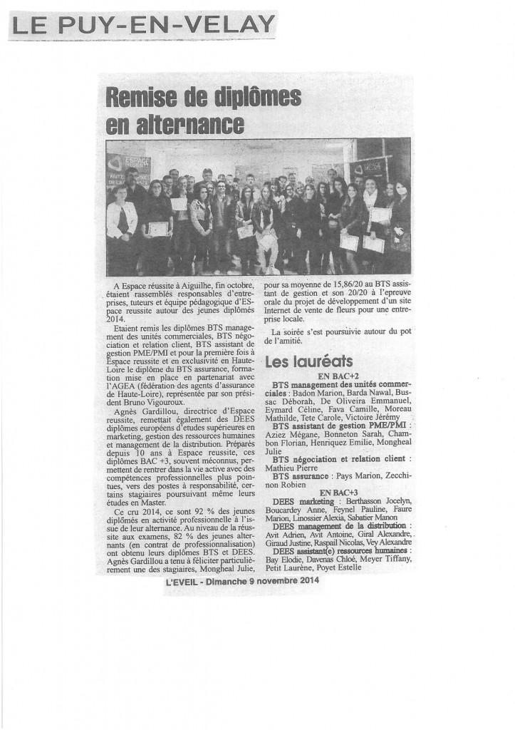 Publication concernant notre remise de diplômes 2014 dans le quotidien L'EVEIL. Daté du 09/11/14